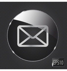 Glass mail button icon on metal background vector image vector image