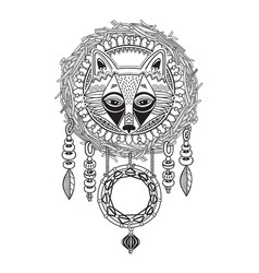 indian dream catcher with ethnic ornaments and fox vector image