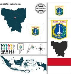 Map of Jakarta vector image vector image