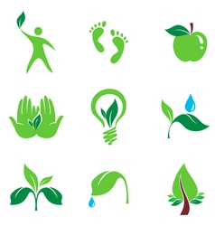 nature set of symbols vector image vector image
