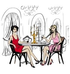 Women in restaurant vector