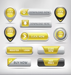 Yellow Glossy Web Elements Button Set vector image