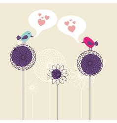 Birds on flowers vector image