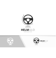 car helm and globe logo combination vector image