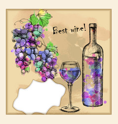 card with sketch grapes wine vector image