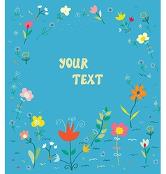 Floral card with frame - simple design vector image