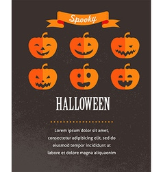 Halloween cute poster with pumpkins vector image vector image