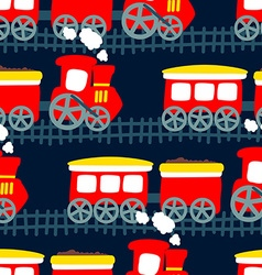 Little steam train in a seamless pattern vector image vector image