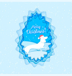 paper cut dog and text in snowy christmas tree vector image