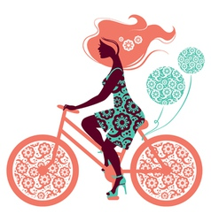 Silhouette of beautiful girl on bicycle vector