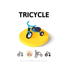 Tricycle icon in different style vector image