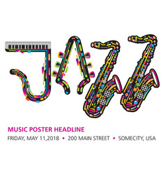 printjazzy colorful music background vector image vector image