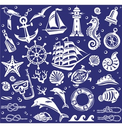 White Summer sea icons set vector image vector image