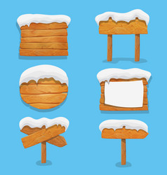 wooden signs with snow winter billboard banner vector image vector image