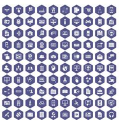 100 database icons hexagon purple vector image vector image