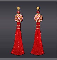 earrings from beads of red and gold with tassels vector image