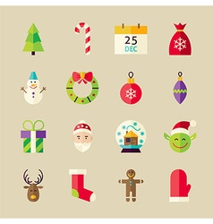 Flat Winter Merry Christmas Objects Set vector image
