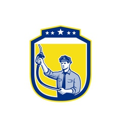 Gas Jockey Gasoline Attendant Shield vector image vector image