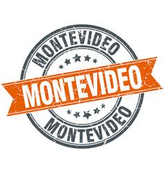 Montevideo red round grunge vintage ribbon stamp vector