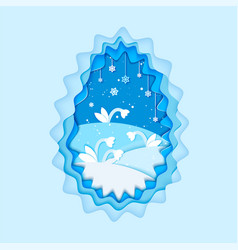 origami flower paper cut style winter floral vector image vector image