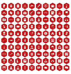 100 crime investigation icons hexagon red vector