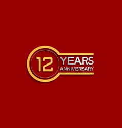 12 years anniversary golden and silver color vector