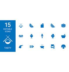 15 tasty icons vector