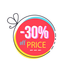 30 off price round sticker abstract bow discount vector image