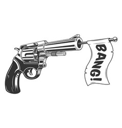 A gun with a bang flag vector