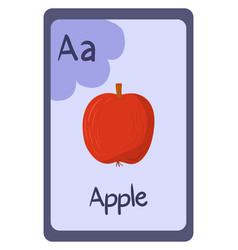 Abc flashcard letter a for apple vector