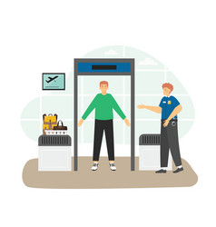 Airport security check point passenger vector