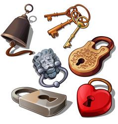 ancient modern and romantic padlocks with keys vector image