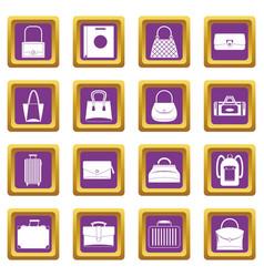 bag baggage suitcase icons set purple vector image