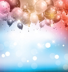 Balloons and confetti background vector