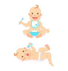 bamilestones 6 to 12 months eating or drinking vector image