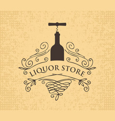 Banner for liquor store with bottle and corkscrew vector