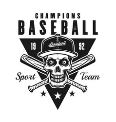 baseball champions vintage black emblem or badge vector image