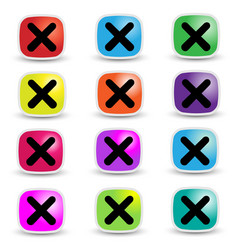 basic rgbwrong mark in brightly colored squares wi vector image