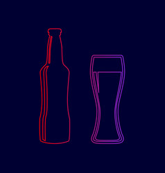 Beer bottle sign line icon with gradient vector