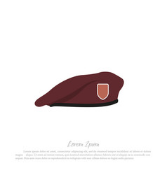 beret soldier military hat in a flat style vector image