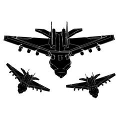 black airplane on a white background vector image