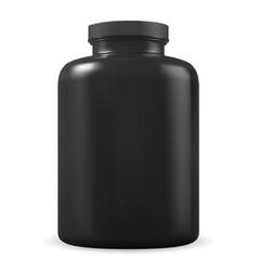 black supplement bottle protein jar plastic blank vector image