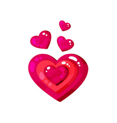 bright glossy pink hearts cartoon vector image