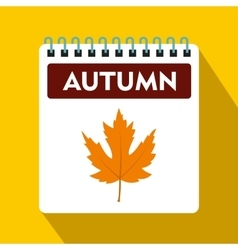 Calendar with maple leaf icon flat style vector image