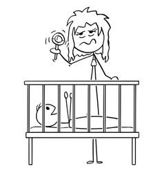 Cartoon dead tired mother entertaining bain vector
