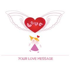 cartoon girl in love vector image vector image