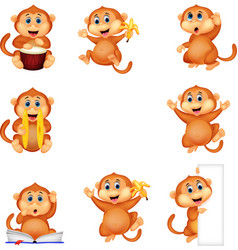 cartoon monkey collection set vector image