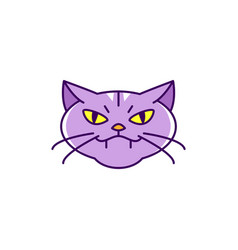 cat witch icon angry colorful flat halloween vector image