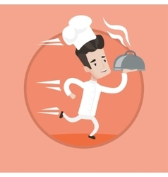 Chef running with cloche vector