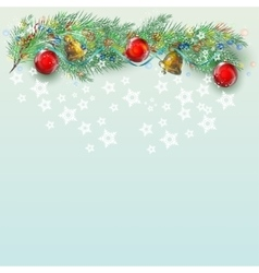 Christmas background with branch fir vector image
